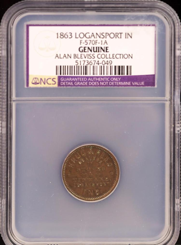 Civil War Token 1863 LOGANSPORT F-570F-1A
