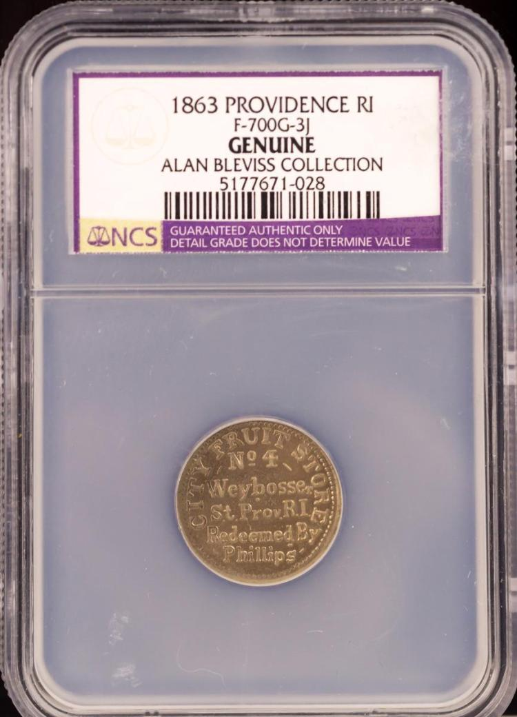 Civil War Token 1863 PROVIDENCE F-700G-3J