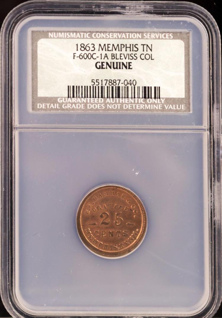 Civil War Token 1863 MEMPHIS F-600C-1A