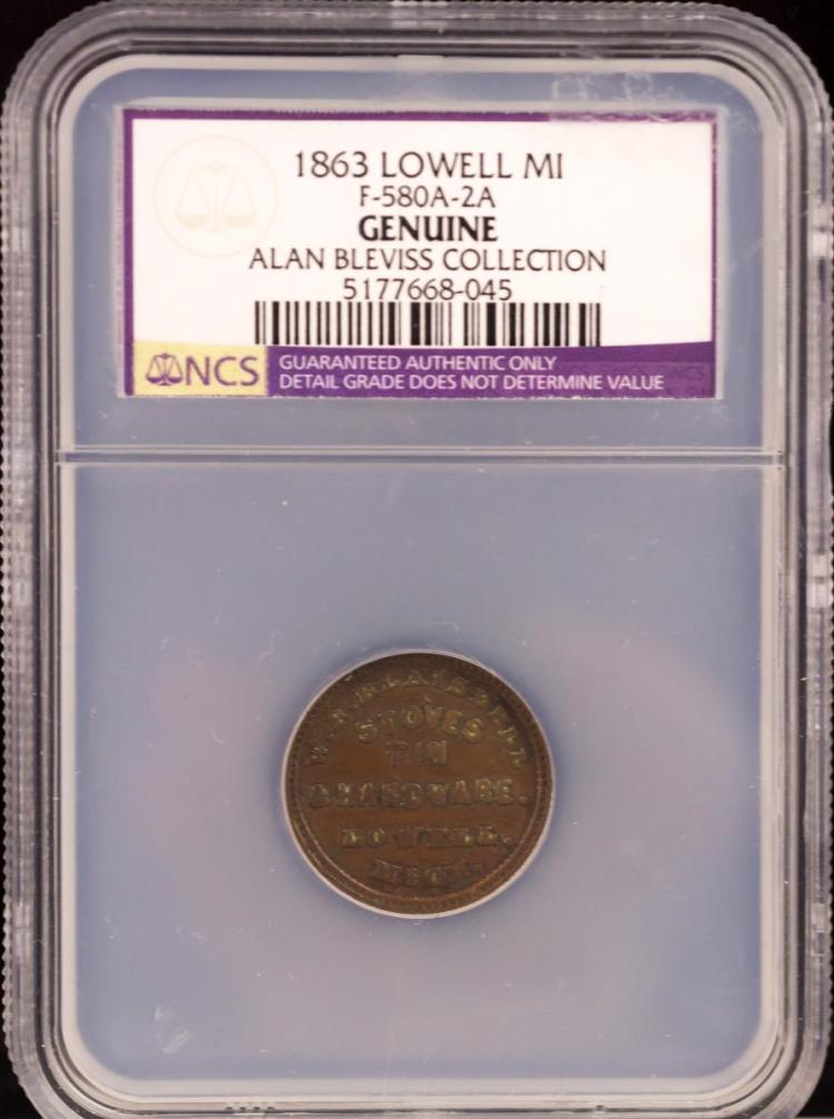 Civil War Token 1863 LOWELL F-580A-2A