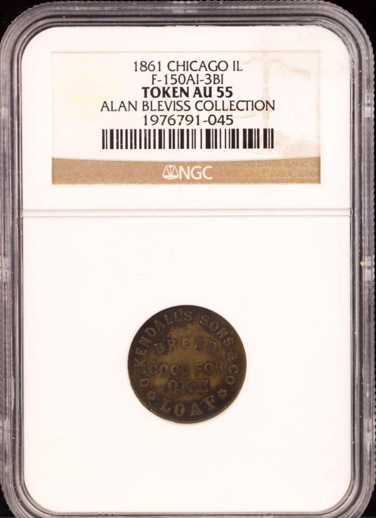 Civil War Token 1861 CHICAGO F-150AI-3BI