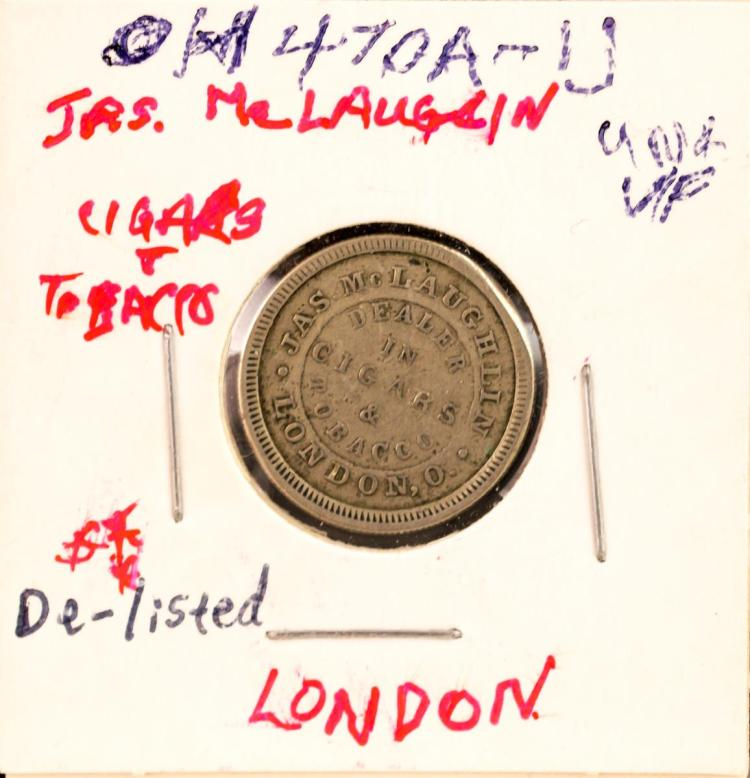Civil War Token Jas McLaughlin London Tobacco