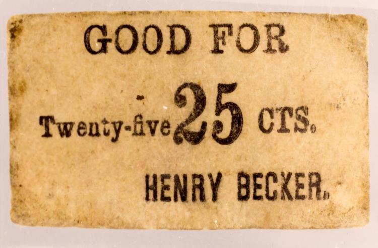 1862 Sutler Scrip Tenn Henry Becker