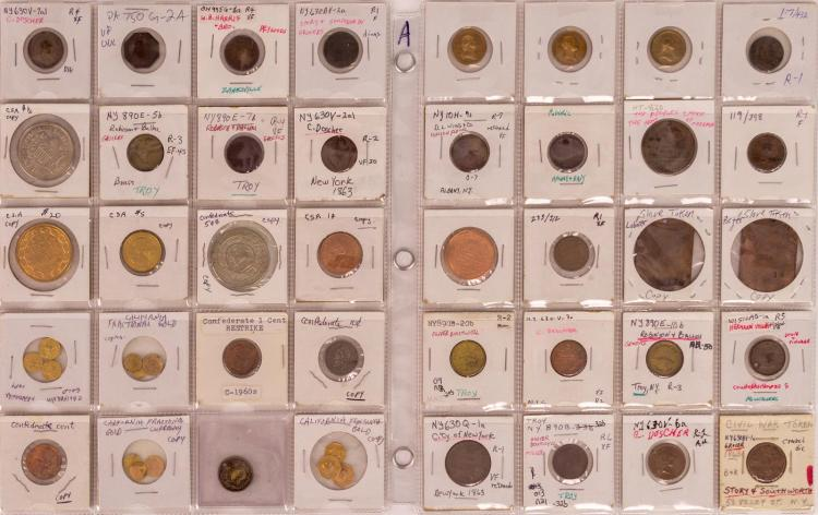 40 Pc. New York & California Civil War Token Lot