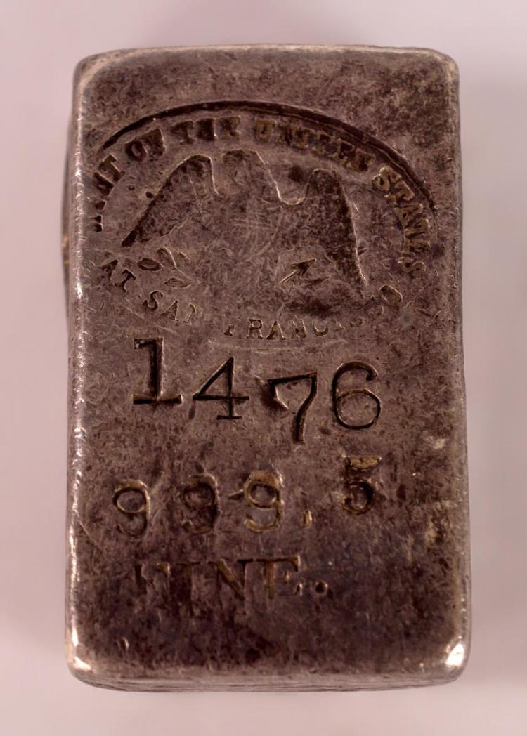 1940s U.S. Mint Stamped 999.75 Fine Silver Bar