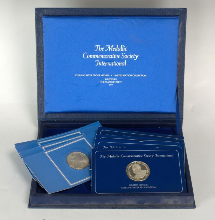 12Pc Sterling Silver Medals, Commemorative Society