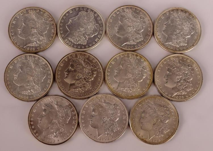 11 Morgan Silver Dollars 1899, 1900 to 1904, 1921