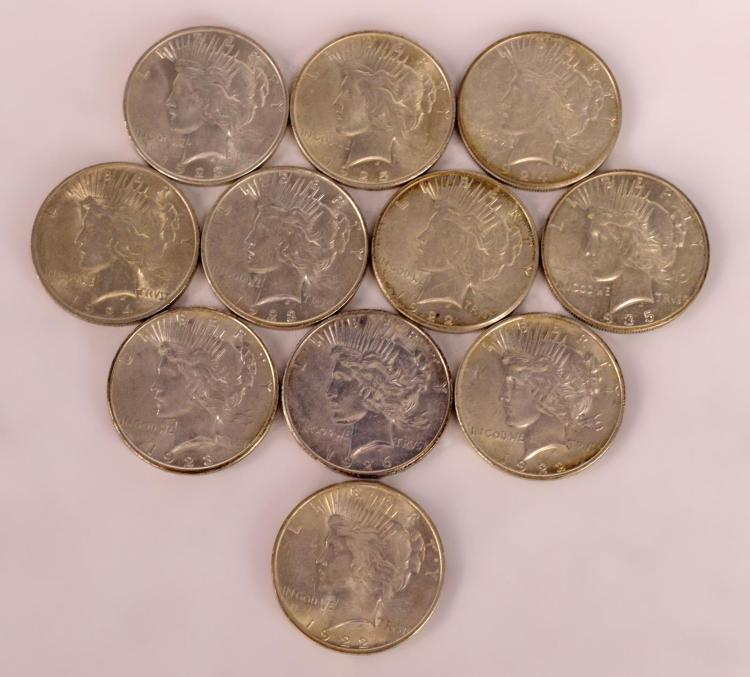 11 Peace Silver Dollars 1922 to 1926, 1935
