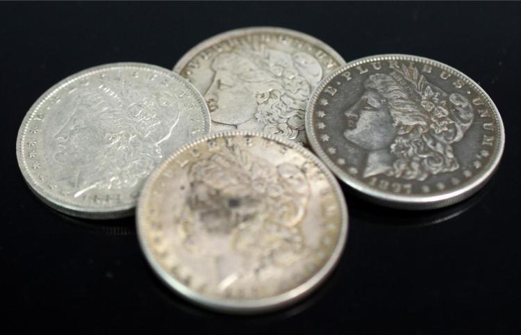 4 Pc. 1879-1897 Circulated Morgan Silver Dollars