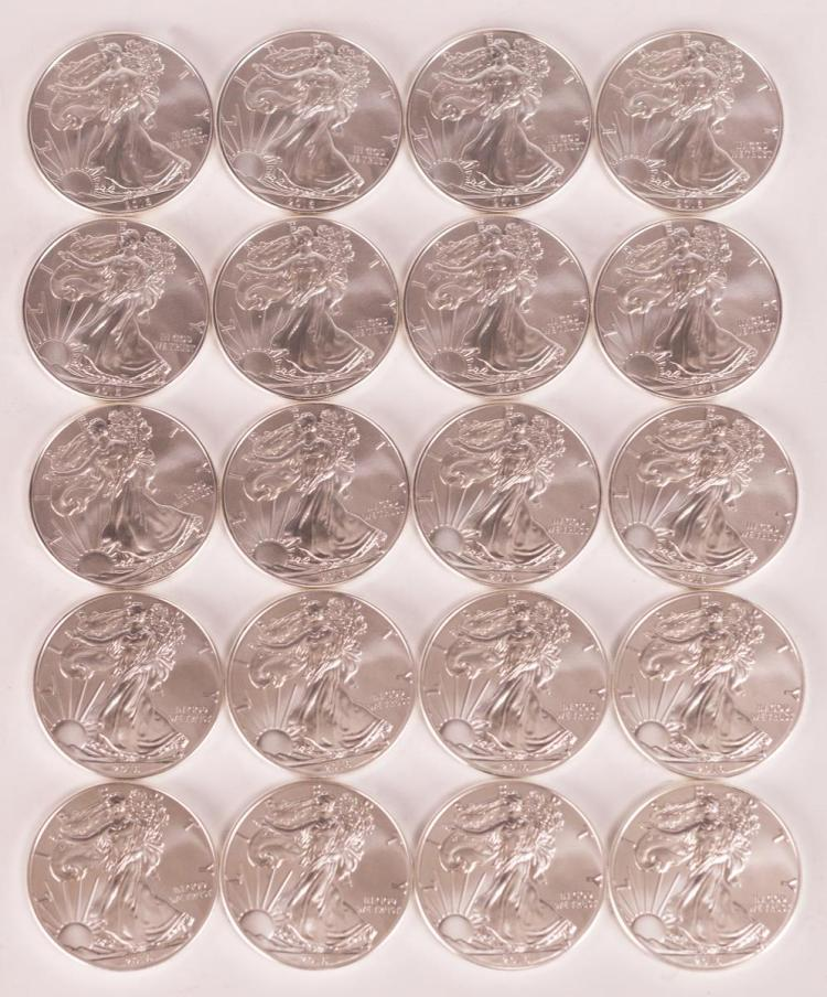 Twenty 2016 Uncirculated Silver Eagle Dollar Lot