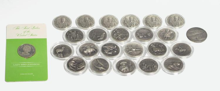 24Pc. Sterling Silver Medal Collection