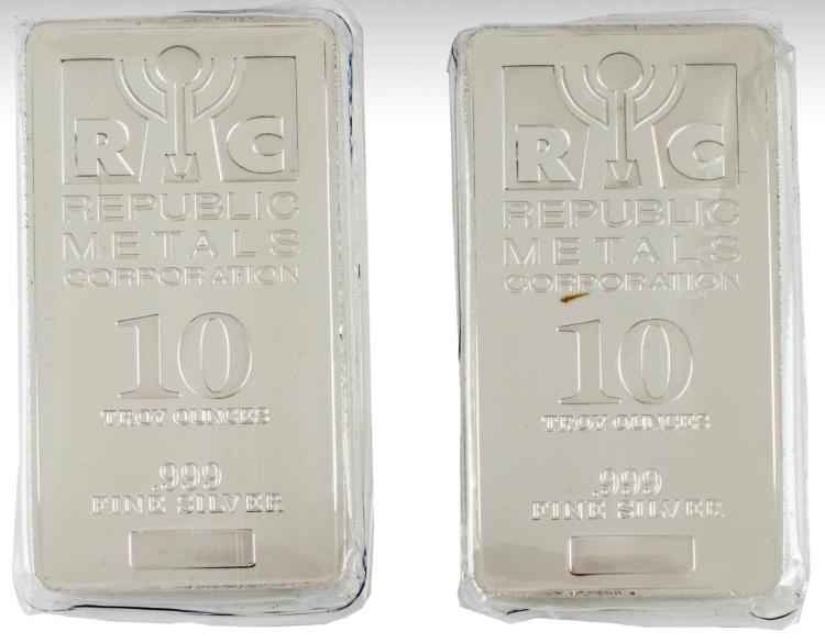 2 Pc. 10 Troy Oz .999 RMC Fine Silver Bullion
