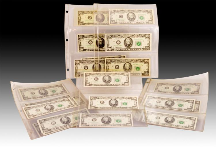 26 Pc. $20 Series 1969A-1995 Bill Lot