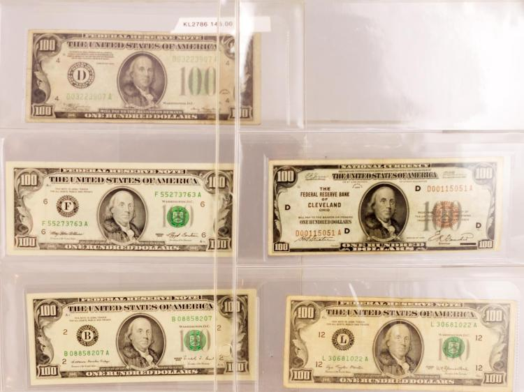5 Pc. $100 Series 1929-1993 Bill Lot