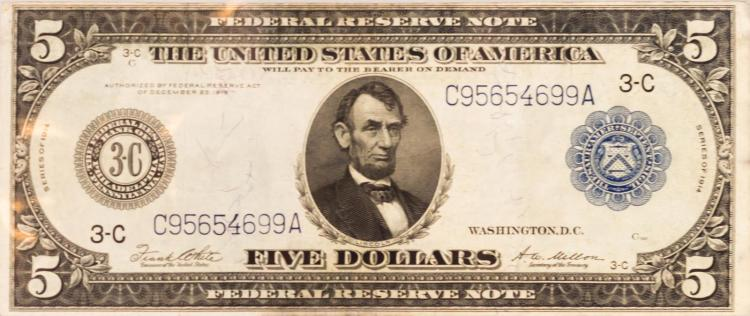 1914 Series Five Dollar Federal Reserve Large Note