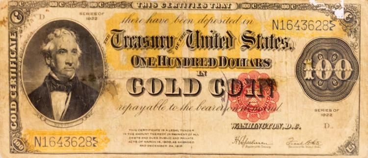 1922 Series $100 Gold Certificate Large Note