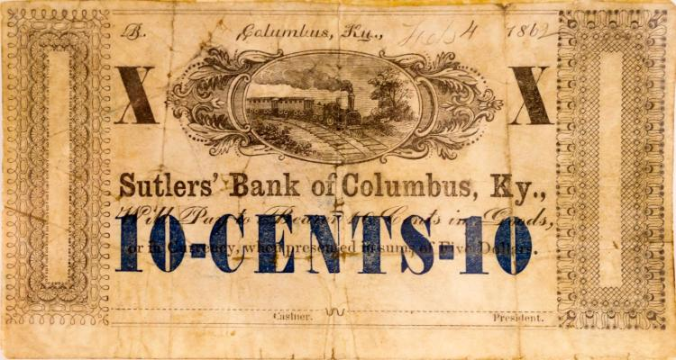 10 Cents Sutler's Bank of Columbus, KY
