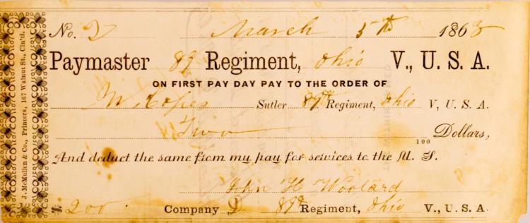 1863, Paymaster 83, Regiment, Ohio Sutler