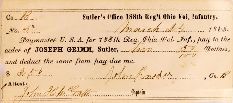 1865 Sutler's Office 188th Reg't Ohio Vol Infantry