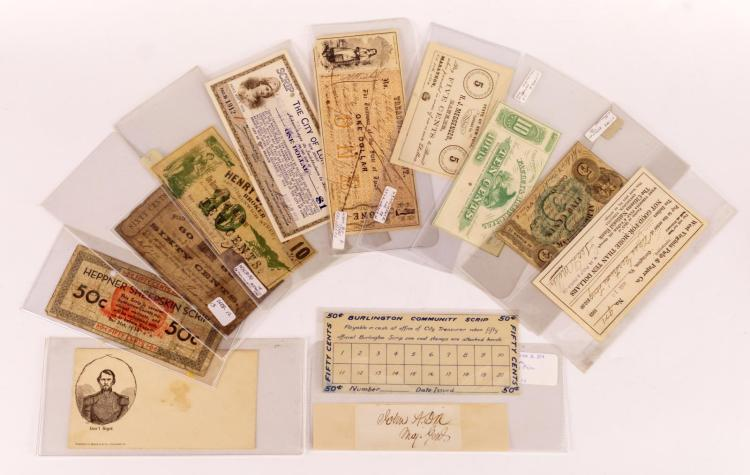11 Pc. Civil War Scrip & Bank Note Lot