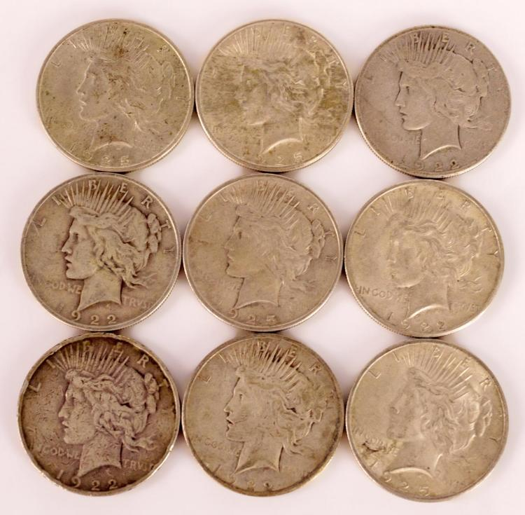9 Pc. 1922 & 1925 Circulated Silver Peace Dollars