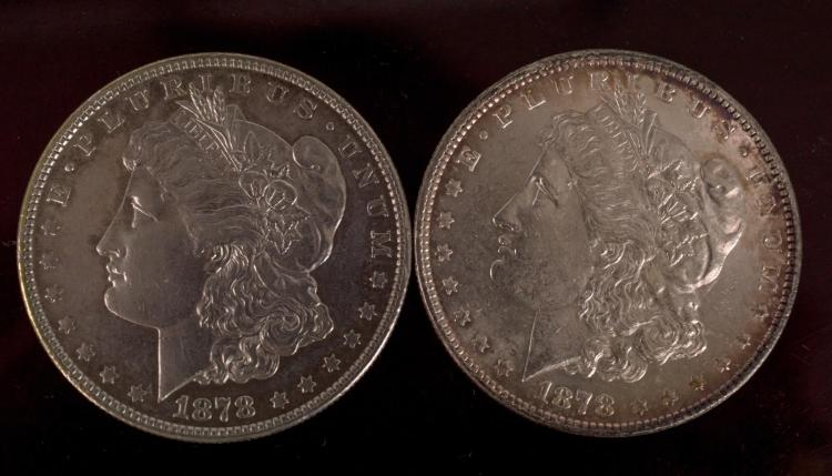 2Pc 1878 Morgan Silver Dollars 7 & 8 Tail Feathers