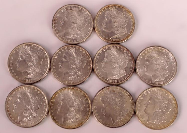 10 Morgan Silver Dollars 1878 to 1881