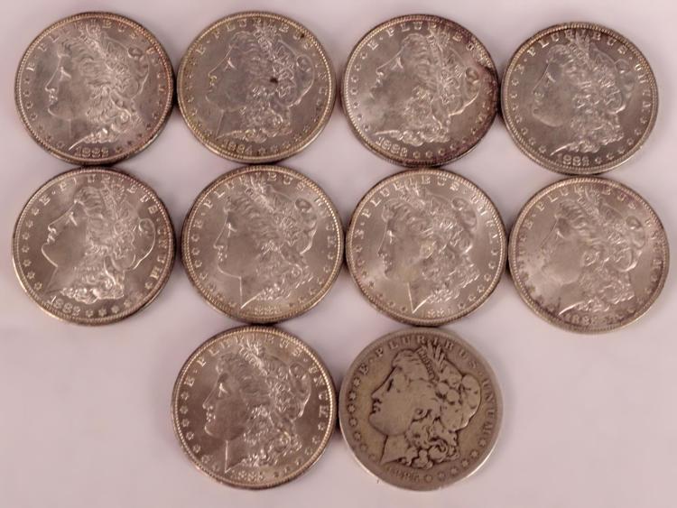 10 Morgan Silver Dollars 1882 to 1885