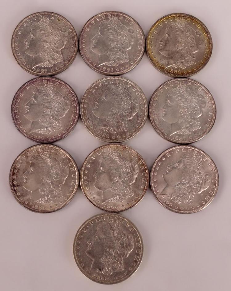 10 Morgan Silver Dollars 1886 to 1890