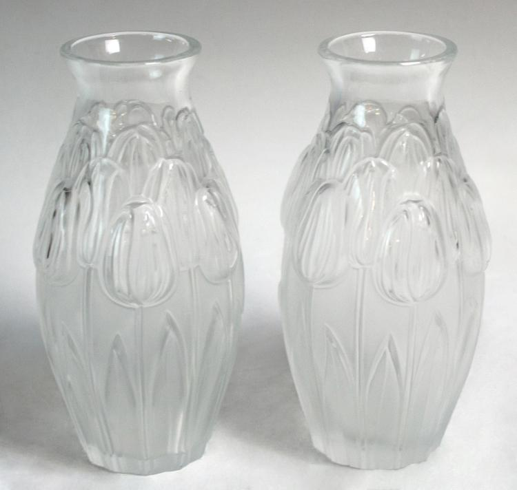 2 Pcs. Lalique Crystal Tulips Vase