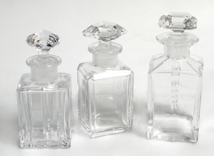 3Pcs Baccarat Emerald Cut Crystal Perfume Bottles