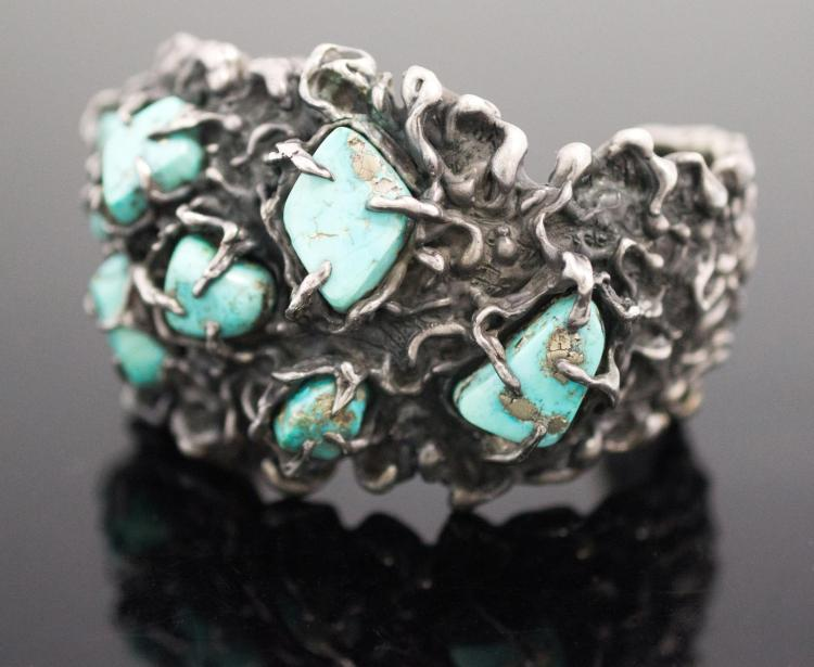 Native American Turquoise & Silver Brutalist Cuff