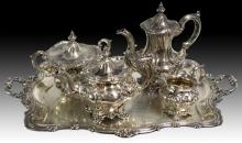 5Pc. 800 Silver Elkington & Co. Tea Set & Tray