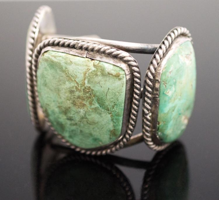 Native American Turquoise & Silver Cuff