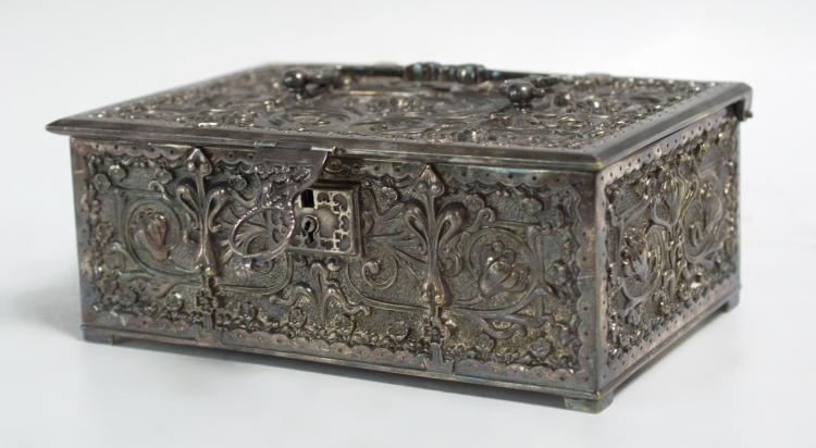 20th C. Art Nouveau Silverplate Box w/ Key