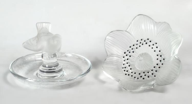 2Pc. Lalique Crystal Paperweight & Ring Holder