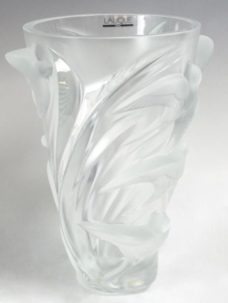 Lalique Crystal Vase Cylindrical, Birds in Flight