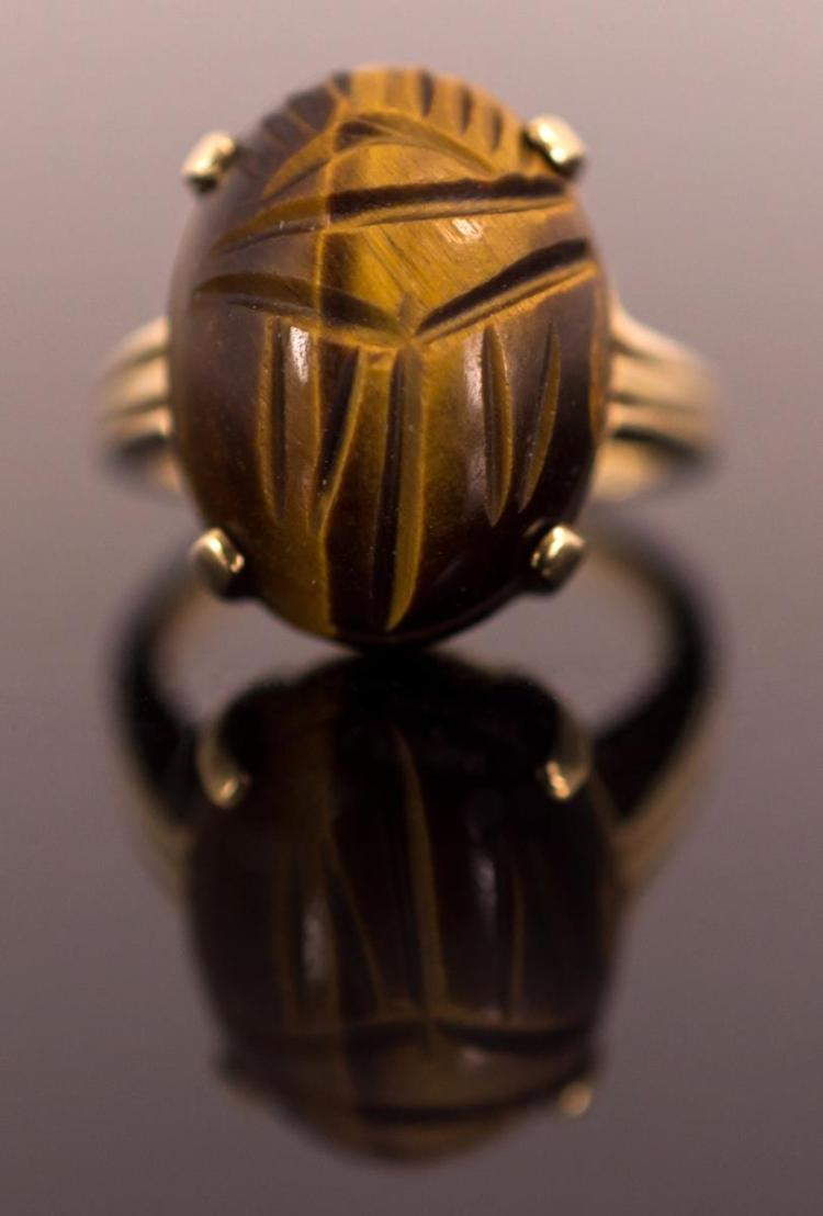 14K Gold Ladies Carved Tiger Eye Scarab Ring
