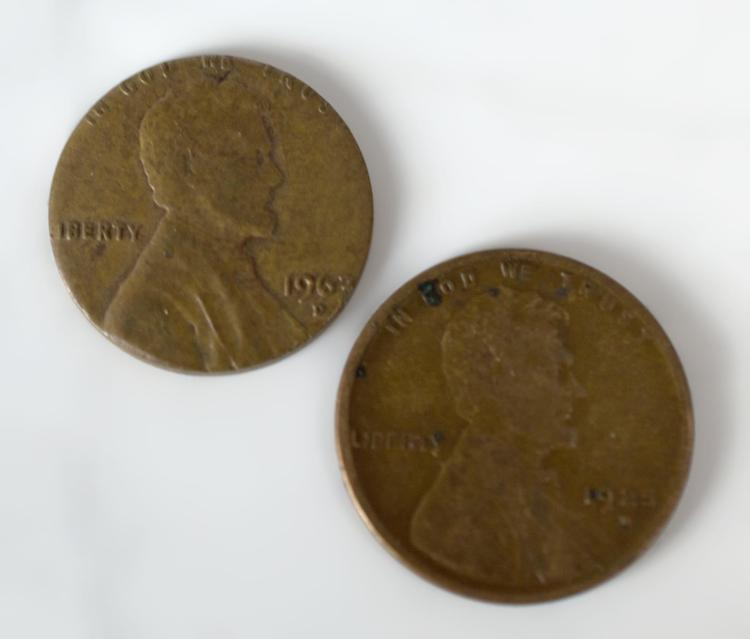2Pc. U.S. Coins, Wheat Error Pennies 1925 & 1963