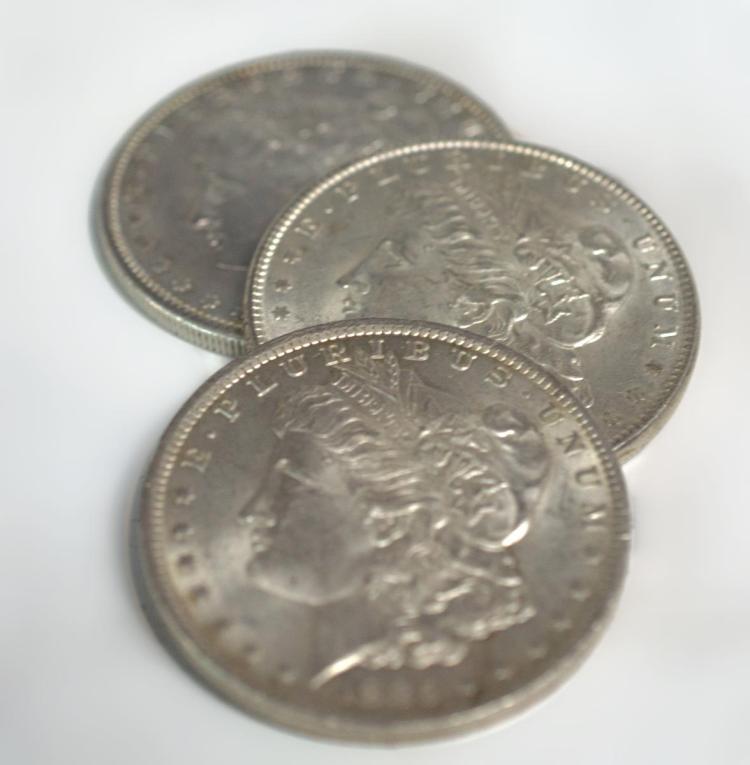 3Pc. U.S. Morgan Silver Dollars