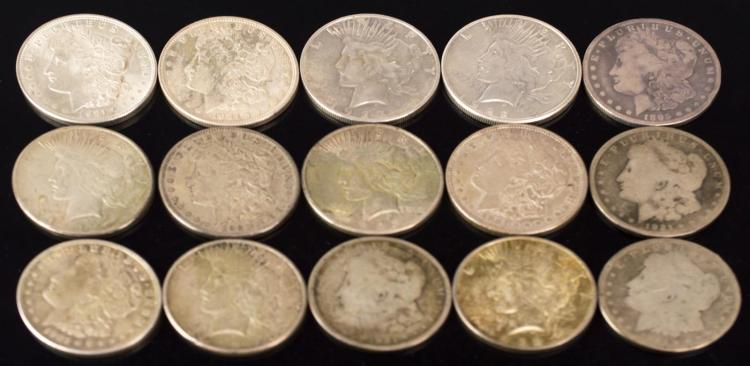 15Pc. 1879-1924 Morgan & Peace Silver Dollar Lot