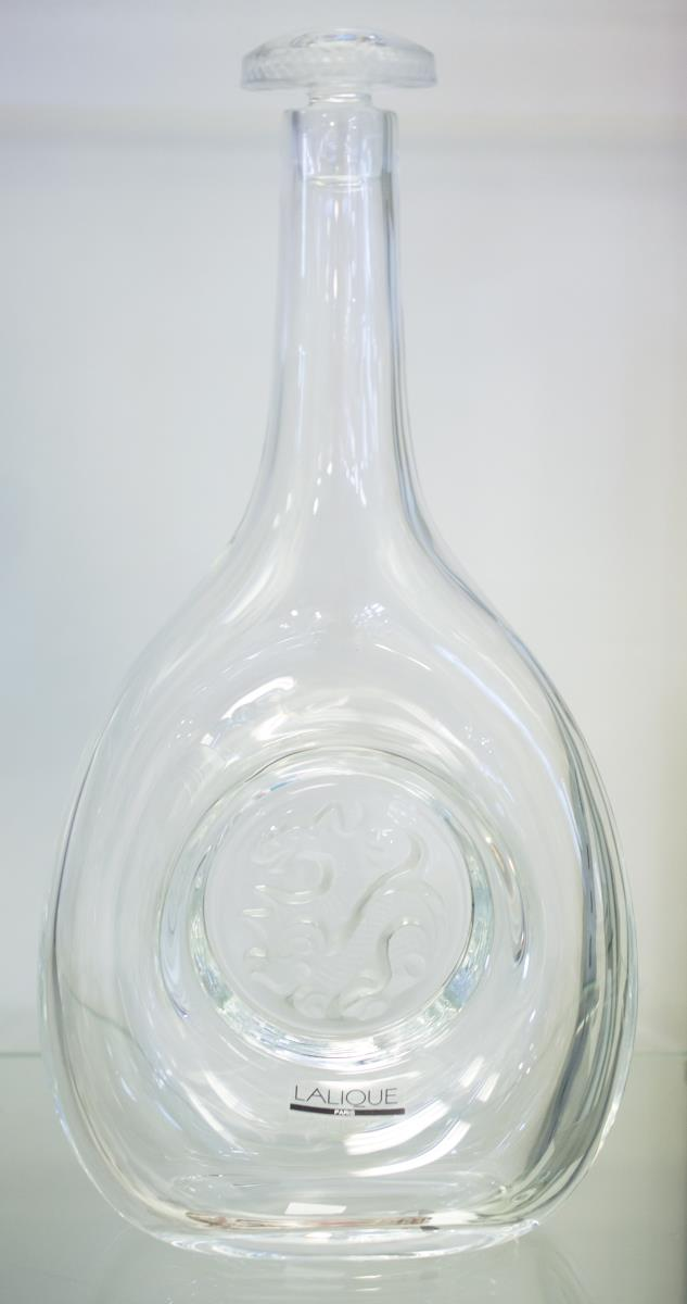 1990 Lalique Crystal Decanter Dragon Motif