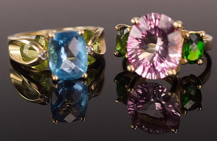 2 Pc. 14K Gold, Prong Set Gemstone Rings