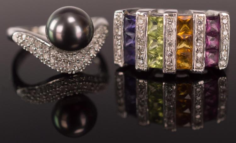 2Pc.14K White Gold w/ Diamonds & Gemstone Rings