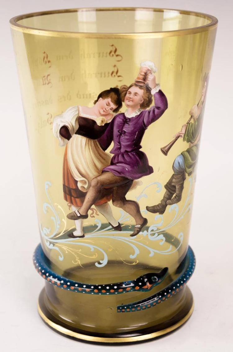 19th C. Enameled Glass Beaker w/ Snake Motif