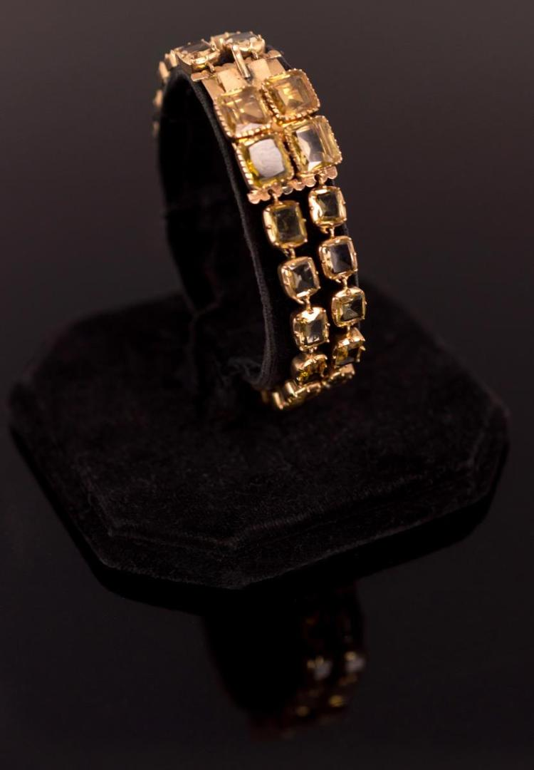 14K Rose Gold & Citrine Stone Bracelet