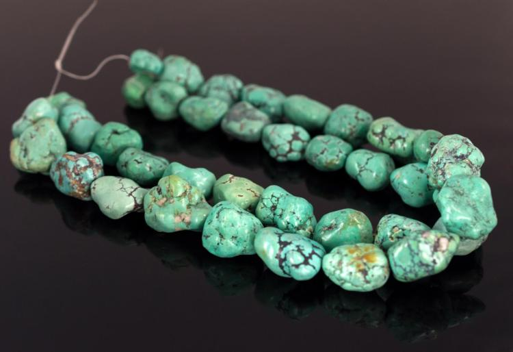 38Pcs. Chunky Turquoise Strung Beads