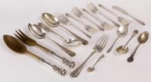 17Pc Sterling Silver Flatware Serving Spoons, Fork