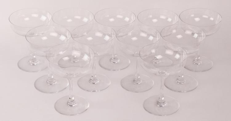 11Pc Baccarat Signed Crystal Champagne Glasses