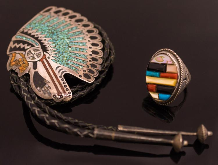 Native American Turquoise & Silver Bolo Tie & Ring